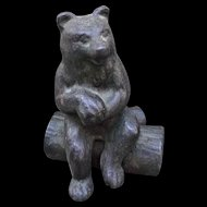 Cast Iron Bear Sitting on Log Vintage Paperweight Figurine Whimsy
