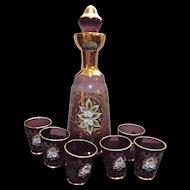 Vintage Bohemian Amethyst Glass Decanter with Six Shot Glasses Bar Home Decor
