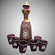 Vintage Bohemian Amethyst Glass Decanter with Six Shot Glasses Bar Home Decor