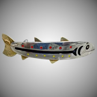 Vintage Signed Anne Harvey Silver Fish Hair Barrette Red Yellow Black Enamel