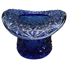 Cobalt Blue Glass Daisy and Button Top Hat Toothpick Holder