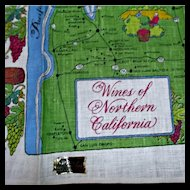 Kay Dee Hand Prints Pure Linen Vintage Towel Wines of Northern California