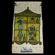 Parisian Prints Pure Linen Hand Kitchen Towel Antiques Green Blue Gold
