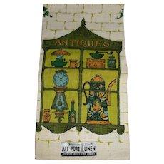 Parisian Prints Pure Linen Hand Kitchen Towel Antiques Green Blue Gold