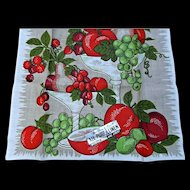 Parisian Prints Pure Linen Vintage Hand Kitchen Towel Luscious Red Green Fruits