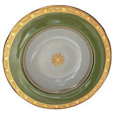 Minton Gold Encrusted Rimmed Soup Bowls with Green Band