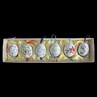 Moravian Hand Painted Eggs from Czechoslovakia Six Winter Scenes Signed