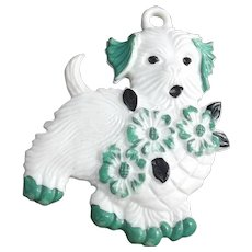 Vintage Celluloid Dog Charm with Flowers Green Black White