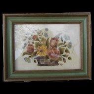 Vintage Folk Art Theorem Hand Painted Stenciled on Velvet Basket Flowers