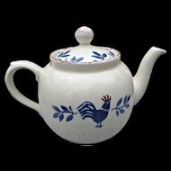 Price Kensington Potteries England Vintage Rooster Teapot Blue Pink Spongeware