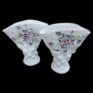 Vintage Con Cora Milk Glass Vases by Consolidated Glass Hand Painted Pansies