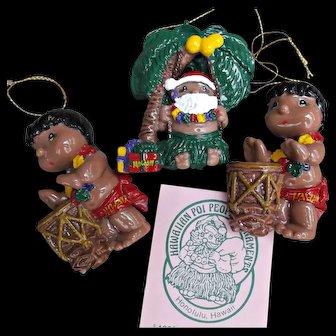 Vintage 1988 Hawaiian Poi People Hand Painted Christmas Ornaments Three