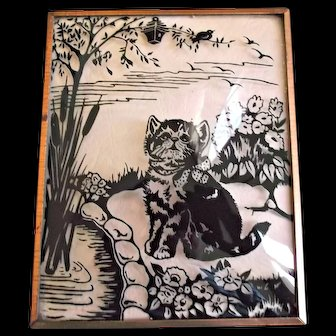 Small Vintage Framed Reverse Painted on Glass Kitten Cat Pond Bird Flowers Bubble Glass