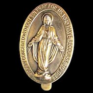 Vintage Brass Religious Miraculous Medal Money Clip Mary Pray For Us