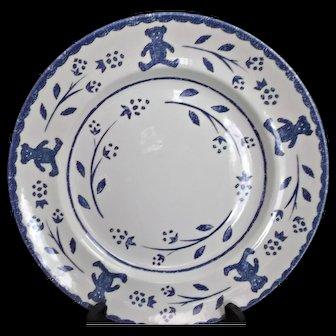 Wood & Sons Discontinued Dinner Plates 4 Blue Sponged Teddy Bears Flowers Vintage