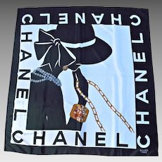 Chanel Paris Vintage Scarf Lady Silhouette Silk Black White Jewels