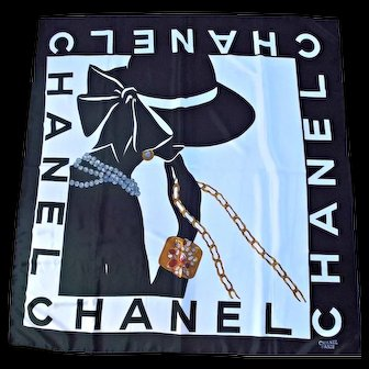 Chanel Paris Vintage Scarf Lady Silhouette Silk Black White Jewels