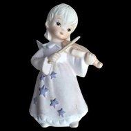 Vintage Lefton Bisque Figurine Angel Playing Violin 1982
