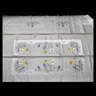 Unused Vintage Damask Table Cloth Cover Jonquils Daffodils Hyacinth Snow Drops