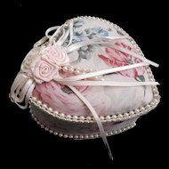 Handmade Vintage Heart Shaped Box Satin Lining Faux Pearls Ribbon Floral