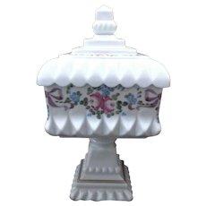 Westmoreland Milk Glass Vintage Roses and Bows Wedding Bowl Box