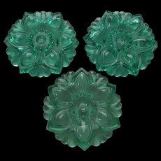 Green Glass Flower Curtain Tiebacks 3 Vintage Home Decor