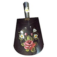 Hand Painted Tole Vintage Coal Scuttle Shovel Pink Rose Blue Flowers