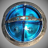 Farberware Chrome Divided Blue Glass Vintage Condiment Tidbit Tray