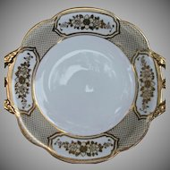 Noritake Porcelain Handled Serving Bowl Gold Gilt Flowers Beads Vintage