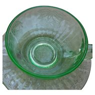 Hazel Atlas Green Glass Fruits Cup and Saucers Depression Glass