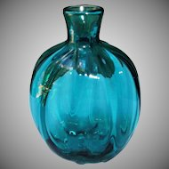 Blown Studio Art Glass Vintage Flask Bottle Vase Teal Color Ribbed Signed