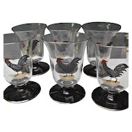 Juice Glasses Six Painted Rooster Tumblers Vintage Country Kitchen Decor