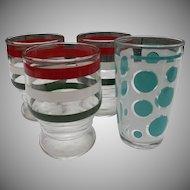Hazel Atlas Glass Vintage Juice Tumblers Turqouise Dots Rings Stripes