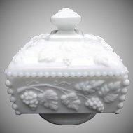 Westmoreland Milk Glass Beaded Grape Honey Box Candy Trinkets