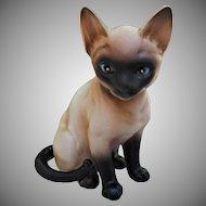 Siamese Cat Kitten Vintage Figurine with Blue Eyes