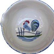 Los Angeles Pottery Vintage Rooster Batter Mixing Bowl Blue Spongeware
