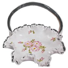 Fenton Silver Crest Basket with Hand Painted Roses Vintage Unmarked