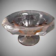 Elegant Pink Glass Octagon Compote with Leaf Design Vintage Glass