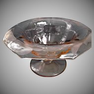 Elegant Pink Glass Octagon Compote with Leaf Design Vintage Glass