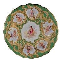 Worcester Kerr & Binns Cabinet Plate Green Gilt Porcelain - c. 1852-62, England