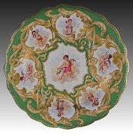 Worcester Kerr & Binns Rococo Revival Cupid Cabinet Plate Green Gilt Porcelain - c. 1852-62, England