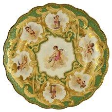 Worcester Kerr & Binns Cabinet Wall Plate Cherub Valentine's Putti Green Gilt Porcelain - c. 1852-62, England