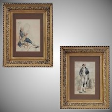 Pair French Watercolors Ancien Regime Nobleman and Post French Revolution Dandy - c. 19th Century, France