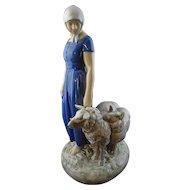 Bing Grondahl Shepherdess Porcelain Figure Axel Locher 2010 AD - 20th Century, Denmark