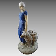 Danish Bing and Grondahl Shepherdess Porcelain Figurine Signed Axel Locher Large - 20th Century, Denmark