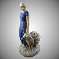 Danish Bing and Grondahl Shepherdess Porcelain Figurine Signed Axel Locher Large - 20th Century, Denmark