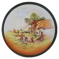 Royal Doulton Large Charger / Round Platter Rustic England Series Mending Rush Chair  - 20th Century, England