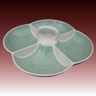 Villeroy & Boch Mid Century Modern Celadon Green Porcelain Handled Divided Serving Bowl - 1947 to 1956, France