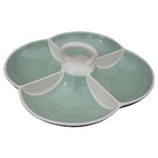 Villeroy & Boch Mid Century Modern Celadon Green Porcelain Handled Divided Serving Bowl - 1947 to 1956, France