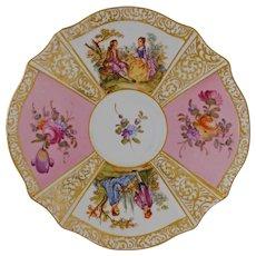 Pink Quatrefoil Dresden Style Small Porcelain Plate Pastoral Scenes